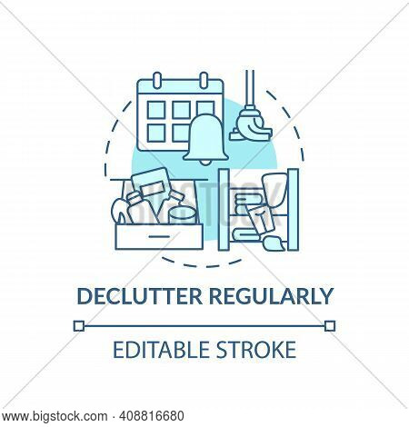 Declutter Regularly Concept Icon. Habits To Prevent Clutter Idea Thin Line Illustration. Declutter,