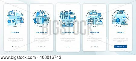 Decluttering Areas Onboarding Mobile App Page Screen With Concepts. Places In Home To Clean Walkthro
