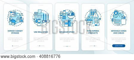 Decluttering Tips Onboarding Mobile App Page Screen With Concepts. Organising And Dishes Walkthrough