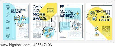 Decluttering Benefits Brochure Template. Saving Energy. Flyer, Booklet, Leaflet Print, Cover Design