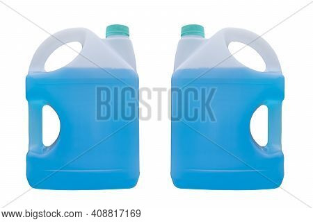 Winter Window Blue Cleaner Isolated On A White Background With Clipping Path. Two Plastic Canister W