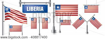 Vector Set Of The National Flag Of Liberia In Various Creative Designs