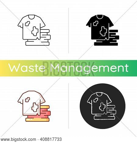 Textile Waste Icon. Clothing, Footwear. Fashion And Textile Industry Refuse. Post-consumer Waste. Cl