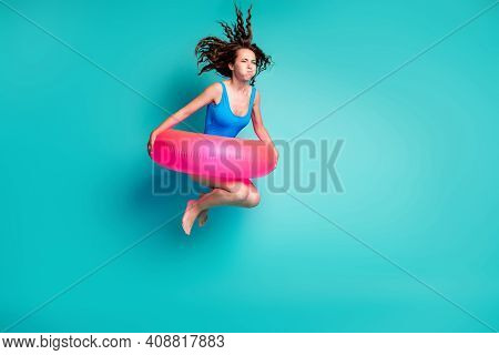 Full Length Body Size View Of Her She Attractive Funky Sporty Girl Jumping Wearing Pink Safety Buoy