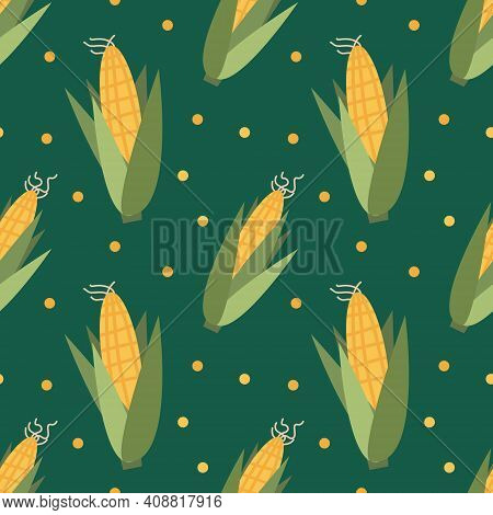 Vector Seamless Pattern With Corn Cobs On A Green Background