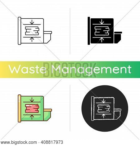 Trash Compactor Icon. Mechanism For Reducing Material Size. Processing Waste Material Through Compac