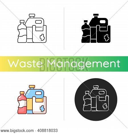 Plastic Waste Icon. Plastic Pollution. Synthetic And Semi-synthetic Materials. Consumer Products. Co
