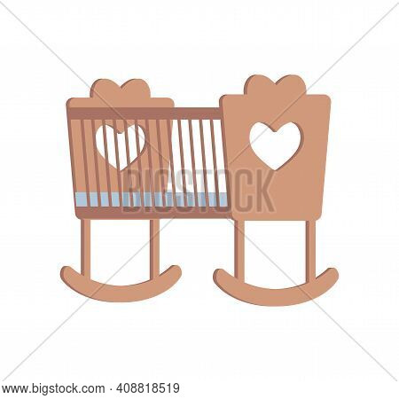 Cradle For Little Newborn Baby Girl Or Boy Vector Flat Illustration Isolated On White Background. Wo