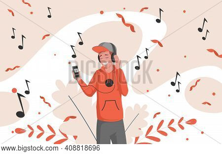 Mobile Music Application Vector Flat Illustration. Happy Smiling Man In Casual Clothes And Modern He