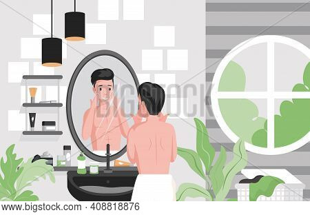 Man Shaving, Cleansing Face In Bathroom Vector Flat Illustration. Male Character Using Creams For Fa