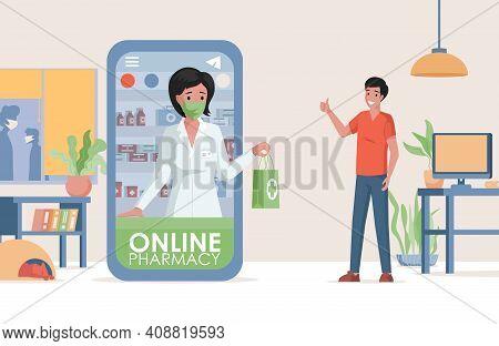 Online Pharmacy Vector Flat Illustration. Internet Drugstore, Health Care Service Concept, Non Conta