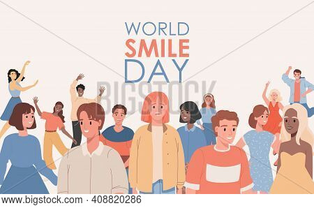 World Smile Day Vector Flat Banner Template With Text Space. Happy Smiling Men And Women In Casual C