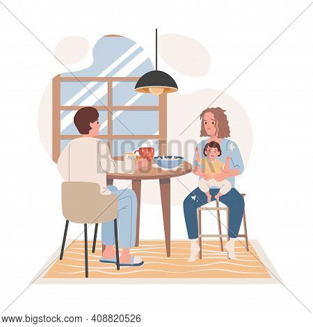 Family Breakfast At The Kitchen Vector Flat Illustration. Tired And Exhausted Mother Trying To Feed