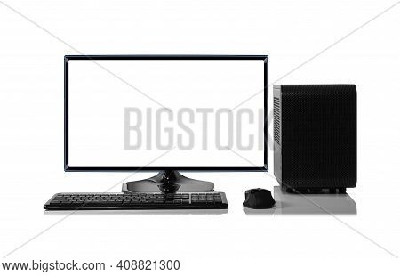 Desktop Personal Computer Isolated On White Background.