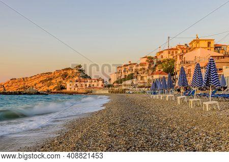 Kokkari Beach Is A Picturesque Beach In Kokkari Village, Beautiful Sunset View, Samos Island, Greece
