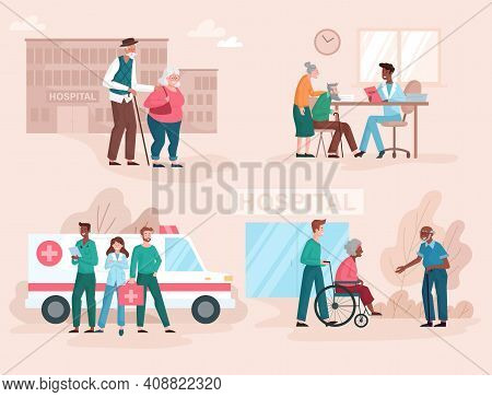 The Concept Of Hospitalization And Treatment Of The Elderly. Various Scenes From Hospital Life. Set
