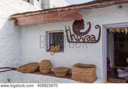 Anegundi, Karnataka, India - November 9, 2013: Lepakshi Handicrafts Non-profit. White Front Facade O