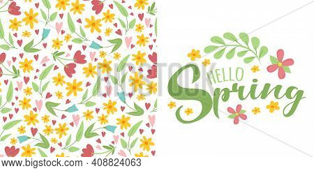 Spring Floral Seamless Pattern With Forget Me Not Blue Flower And Leaves On White Background And Scr