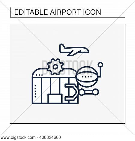 Airport Robotization Line Icon. Security Robot To Patrol Airport. Using Robotics To Make People Work
