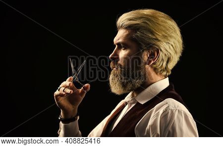 Professional Barber Ready To Do A Trendy Haircut. Mens Haircut In Barber Shop. Mustache And Beard Tr