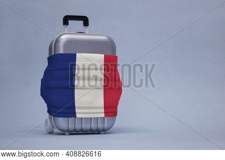 Time To Travel. The Concept Of Safe Rest During A Pandemic Covid-19 Coronavirus. Suitcase For Travel
