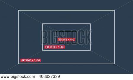 Tv Or Screen Display Resolution. Sd Hd 4k Resolution. High Definition Display Resolution. Vector Ill