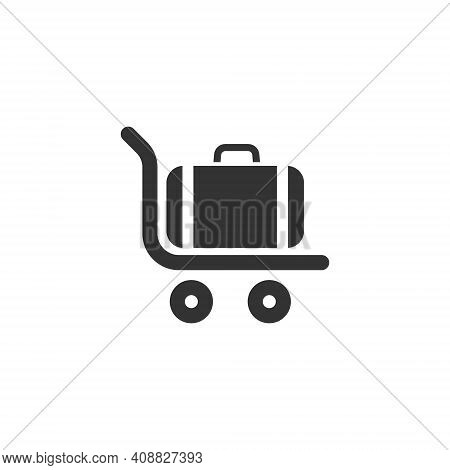 Icon Of Luggage On A Trolley At The Airport Or Train Station. Transportation Of Heavy Bags And Suitc