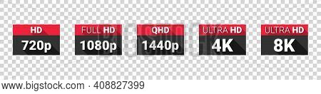Screen Resolutions. Hd, Full Hd, 2k, 4k, 8k Resolution Icons. High Definition Display Resolution Ico