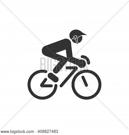 Icon Of A Cyclist Riding A Bicycle. Sports Competitions And Hobbies.