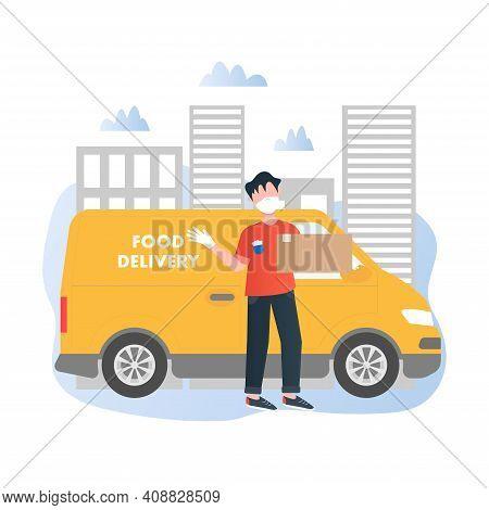 Meal Kit Delivery Vector Illustration Concept In Cartoon Style. Meal Kit Safe Delivery Concept. Deli