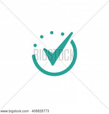 Done Check Mark. Valid Seal Icon. Blue Tick In Circle. Flat Ok Sticker Icon. Isolated On White. Acce