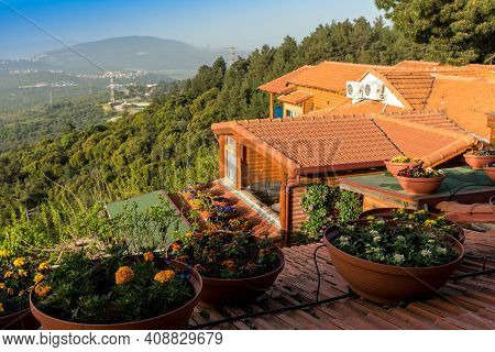 Panorama Of The Upper Galilee From Guesthouse(boarding House Or Zimmer) At The Tops Of The Hills Sur