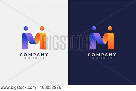 Abstract Initial Letter M Logo Design. Creative Purple Orange Connecting Partnership People With Ori