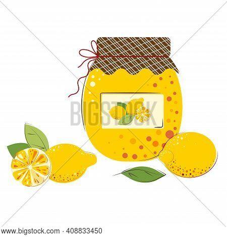 Homemade Jam From Fresh Lemons Berries. Jar Of Lemon Jam.