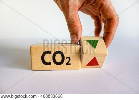 Co2 Changes Symbol. Concept Words 'co2' On Cubes On A Beautiful White Table, White Background. Busin