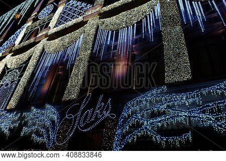 New York, Ny - Dec 13: Holiday Light Show At Saks Fifth Avenue Flagship Store In New York City, As S
