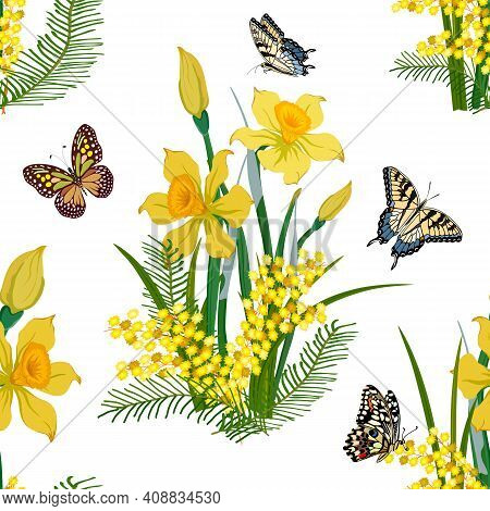 Seamless Pattern With Spring Flowers.daffodils And Mimosas In A Color Pattern On A White Background.