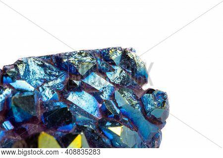 Macro Mineral Stone Titanium Quartz, Flame Aura Quartz On A White Background Close-up