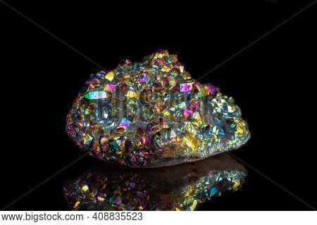 Macro Mineral Stone Titanium Quartz, Flame Aura Quartz On A Black Background
