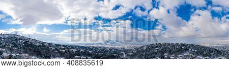 Athens Greece Covered With Snow Panorama, Sunny Winter Day, Cloudy Sky Background