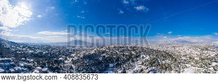 Athens Greece Covered With Snow Panorama, Sunny Winter Day, Blue Sky Background