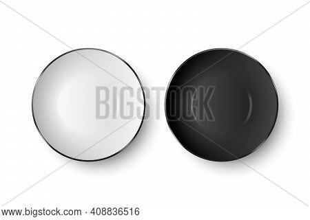 Vector 3d Realistic White And Black Empty Porcelain, Ceramic Plate Icon Closeup Isolated On White Ba