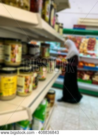 Unidentified Circassian Muslim Woman In Traditional Casual National Dress At A Grocery Store In Circ