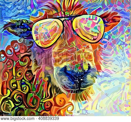 An Artistically Designed And Digitally Painted, Portrait Of A Funny Sheep Wearing Shades.