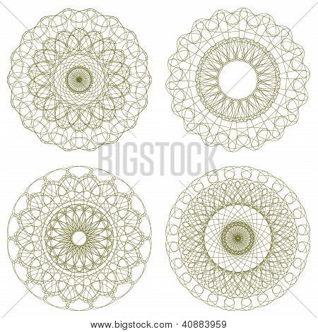 Set of vector guilloche rosettes