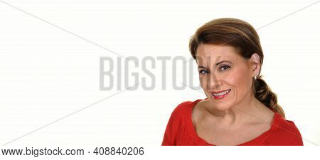 Portrait Of A Beautiful Mature Woman Isolated On White Background
