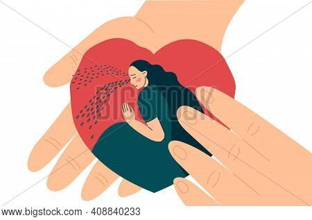 Hands Hold Heart Inside Crying Woman Or Girl. Compassion, Support And Comfort. Help In Overcoming De