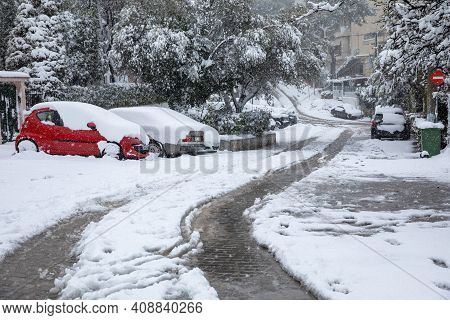 Beautiful Winter Morning Snow Covered Streets Of Athens, Greece, 15th Of February 2021.