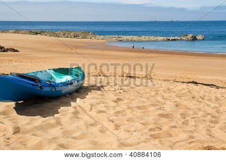 Kajak on picturesque Greve de Lecq Beach on Jersey, UK