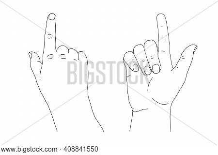 Black Outline Human Young Adult Hand Raising And Lifting Index Finger Up. One, Weak, Relaxed Gesture